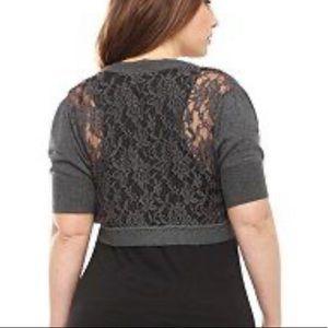 Torrid grey lace backshrug size 2 NWT